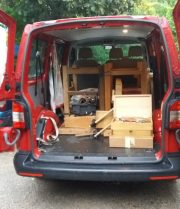 The workshop in the van ready to go to San Sebastian.